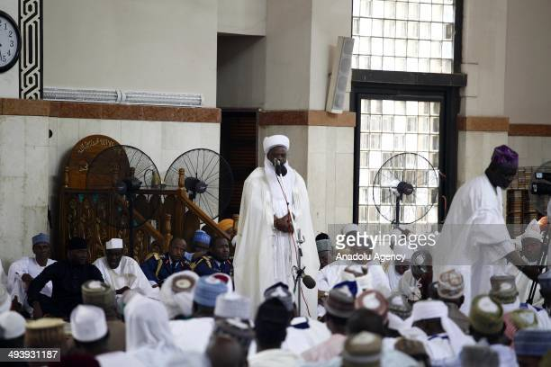Sultan of Sokoto Sa'adu Abubakar makes a speech on Boko Haram militants at the National Mosque in Abuja Nigeria on May 25 2014