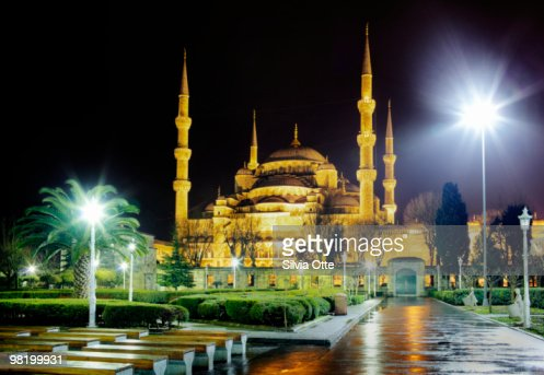 Sultanahmet Mosque (Blue Mosque) at night : Stock Photo