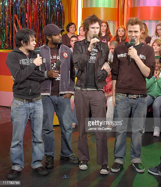Sum 41 during Sum 41 Surprises Fans by Giving Away Epiphone Guitars on MTV's 'TRL' October 14 2004 at MTV Studios Times Square in New York City New...