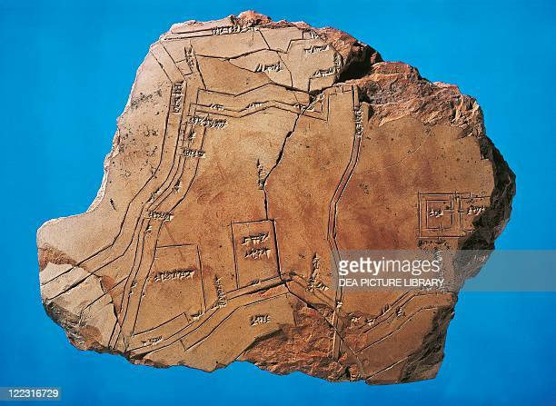Sumerian civilization 3rd millennium bC Terracotta fragment with the map of the city of Nippur From Tell Telloh Iraq