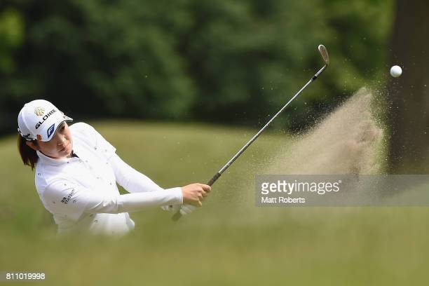 Sumika Nakasone of Japan hits out of the 15th green bunker during the final round of the Nipponham Ladies Classics at the Ambix Hakodate Club on July...