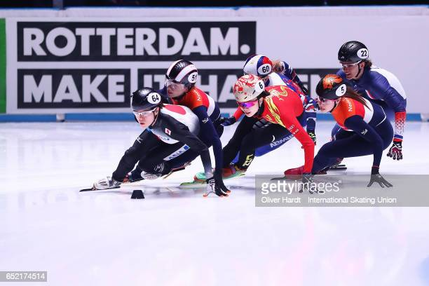 Sumire Kikuchi of Japan competes in the Ladies 1500m semifinals race during day one of ISU World Short Track Championships at Rotterdam Ahoy Arena on...