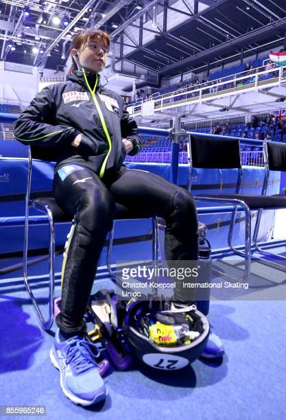 Sumire Kikuchi of Japan prepares during the Audi ISU World Cup Short Track Speed Skating at Bok Hall on September 30 2017 in Budapest Hungary