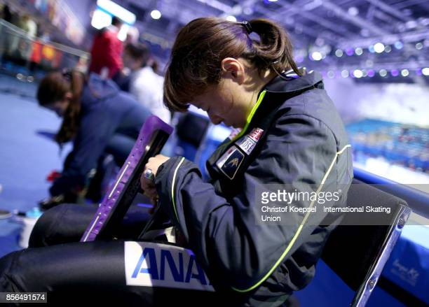 Sumire Kikuchi of Japan prepares during the Audi ISU World Cup Short Track Speed Skating at Bok Hall on October 1 2017 in Budapest Hungary
