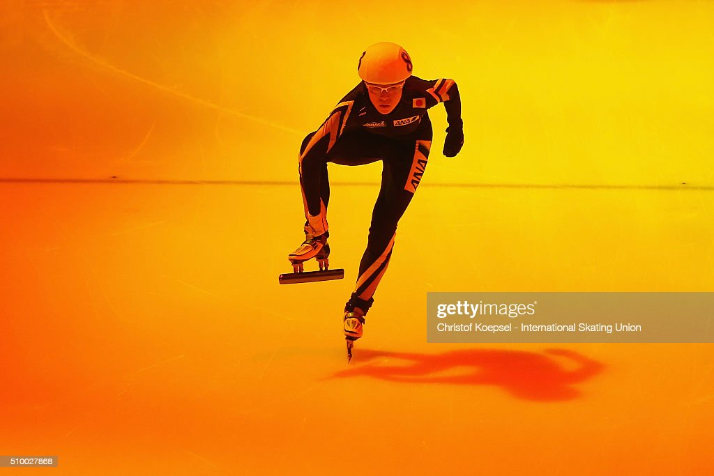 Sumire Kikuchi of Japan prepares prior to the ladies 3000m relay semi-finals second heat during Day 2 of ISU Short Track World Cup at Sportboulevard on February 13, 2016 in Dordrecht, Netherlands.