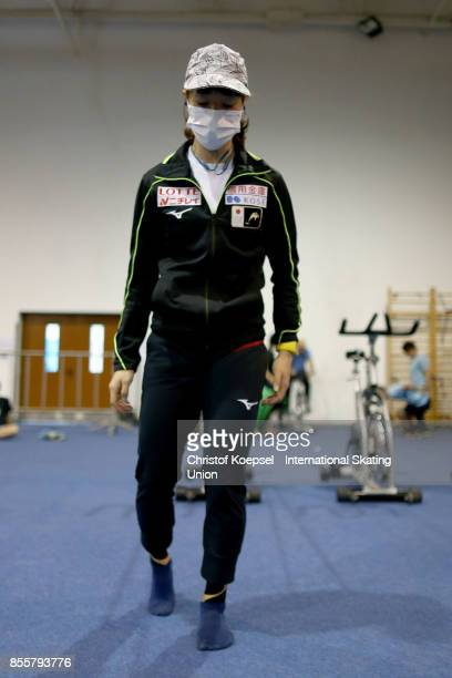 Sumire Kikuchi of Japan warms up during the Audi ISU World Cup Short Track Speed Skating at Bok Hall on September 30 2017 in Budapest Hungary