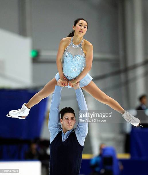 Sumire Suto and Francis BoudereauAudet compete in the Pair Free Skating during day two of the 85th All Japan Figure Skating Championships at Towa...