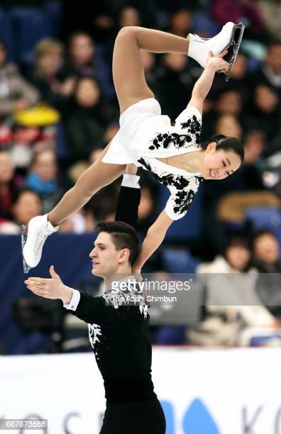 Sumire Suto and Francis BoudreauAudet of Japan compete in the Pair Short Program during day one of the World Figure Skating Championships at Hartwall...