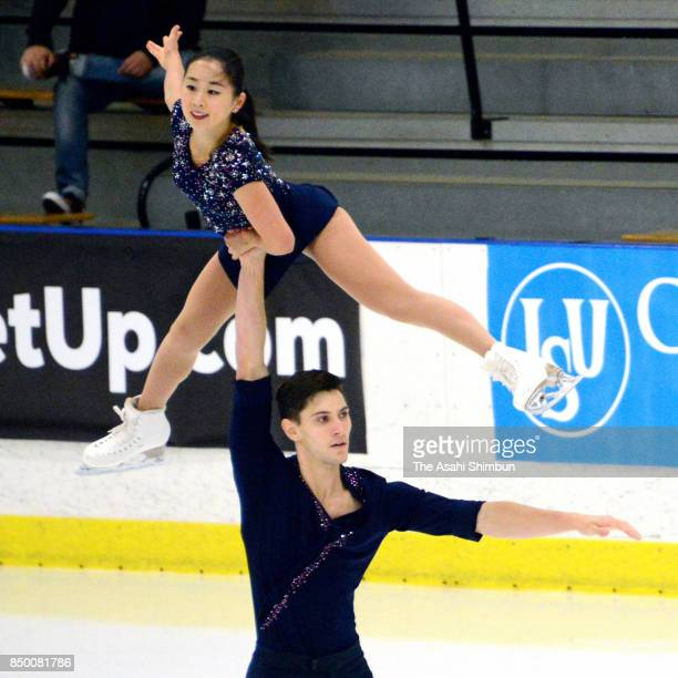 Sumire Suto and Francis BoudreauAudet of Japan compete in the Pair Free Skating during day two of the US International Figure Skating Classic at the...