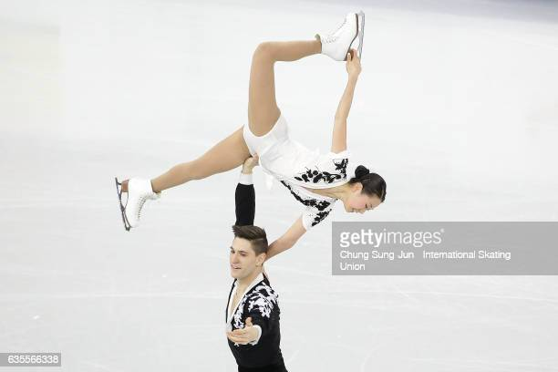 Sumire Suto and Francis BoudreauAudet of Japan compete in the Pairs Short during ISU Four Continents Figure Skating Championships Gangneung Test...