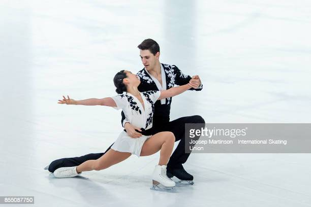 Sumire Suto and Francis BoudreauAudet of Japan compete in the Pairs Short Program during the Nebelhorn Trophy 2017 at Eissportzentrum on September 28...