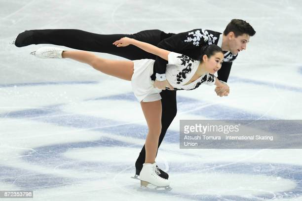 Sumire Suto and Francis BoudreauAudet of Japan compete in the Pairs short program during the ISU Grand Prix of Figure Skating at on November 10 2017...