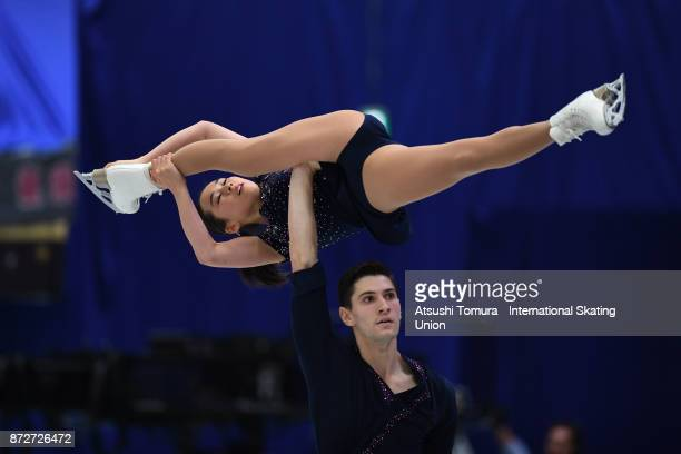 Sumire Suto and Francis BoudreauAudet of Japan compete in the Pairs free skating during the ISU Grand Prix of Figure Skating at on November 11 2017...