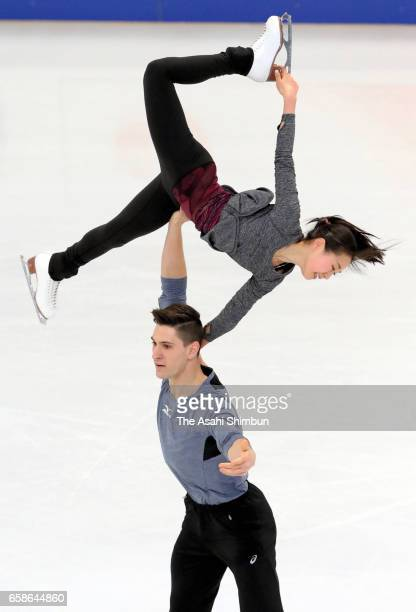 Sumire Suto and Francis BoudreauAudet of Japan in action during a practice session ahead of the World Figure Skating Championships on March 27 2017...