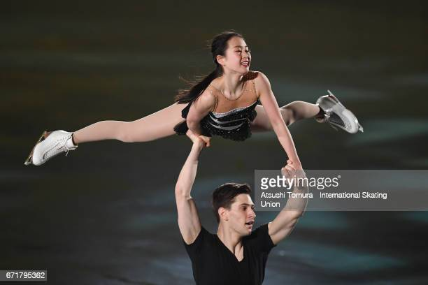 Sumire Suto and Francis BoudreauAudet of Japan perform in the gala exhibition during the day 4 of the ISU World Team Trophy 2017 on April 23 2017 in...