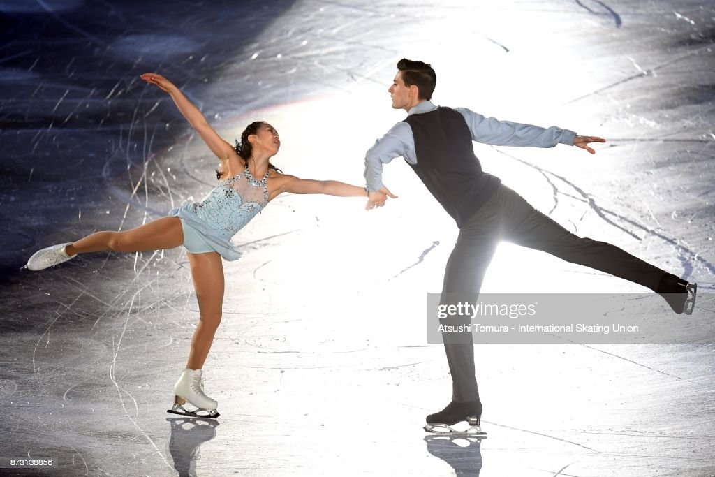 Sumire Suto and Francis Boudreau-Audet of Japan perform in the gala exhibition during the ISU Grand Prix of Figure Skating at Osaka municipal central gymnasium on November 12, 2017 in Osaka, Japan.