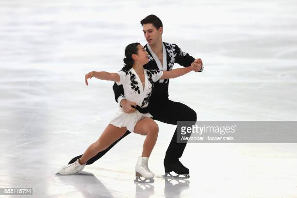 Sumire Suto and Francis BoudreauAudet of Japan performs at the Pairs short program during the 49 Nebelhorn Trophy 2017 at Eishalle Oberstdorf on...
