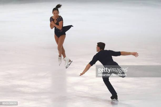 Sumire Suto and Francis BoudreauAudet of Japan performs at the Pairs free skating during the 49 Nebelhorn Trophy 2017 at Eishalle Oberstdorf on...
