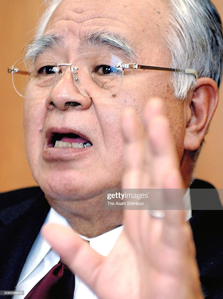 Sumitomo Chemical President <a gi-track='captionPersonalityLinkClicked' href=/galleries/search?phrase=Hiromasa+Yonekura&family=editorial&specificpeople=2816307 ng-click='$event.stopPropagation()'>Hiromasa Yonekura</a> speaks durint the Asahi Shimbun interview at the company headquarters on January 18, 2005 in Tokyo, Japan.