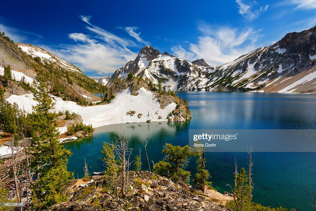 Summer afternoon at snowy Sawtooth Lake, Idaho