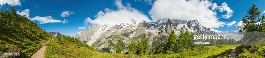 Summer Alpine trail meadows and mountains panorama