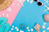 Summer and beach objects theme on a bright duotone background