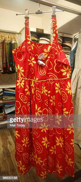 Summer apparel can be seen displayed at the Khan market outlet of FabIndia in New Delhi on April 21 2010