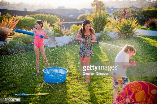 Summer back yard water fight