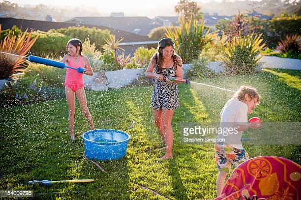 Summer back yard water fight