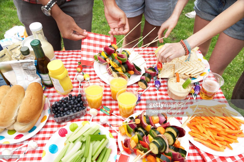 A summer barbecue in the park : Stock Photo
