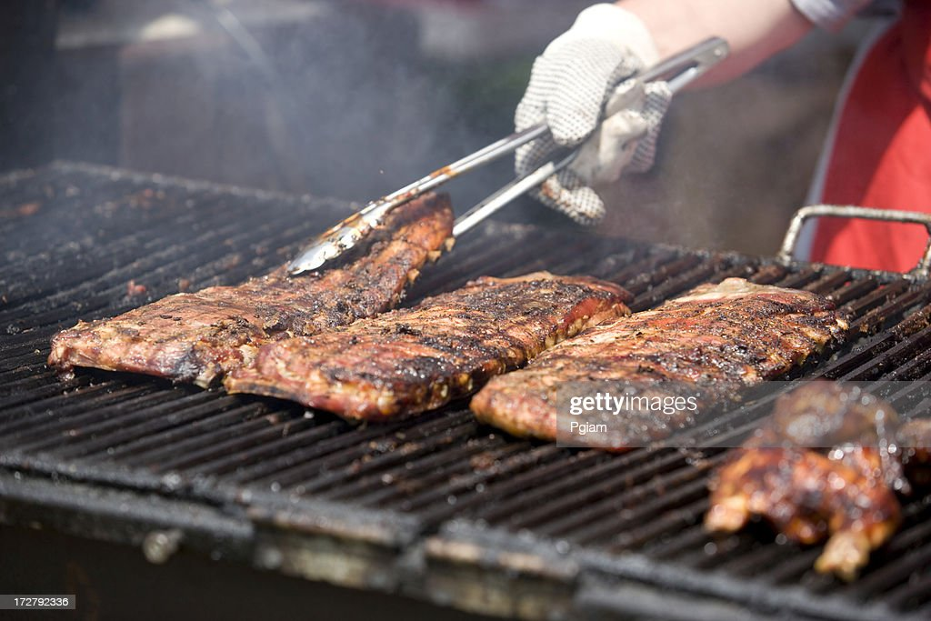 Summer BBQ cooking : Stock Photo