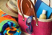 Summer Beach Bag with Suntan Lotion, Towel, Sunglasses, Hat