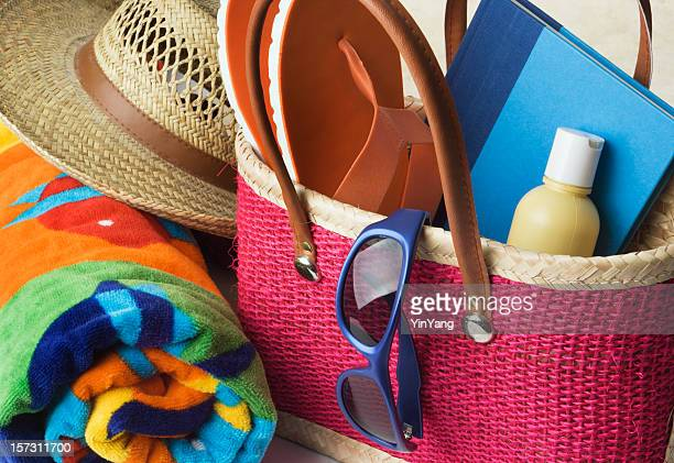 Summer Beach Bag with Suntan Lotion, Towel, Sunglasses, Hat