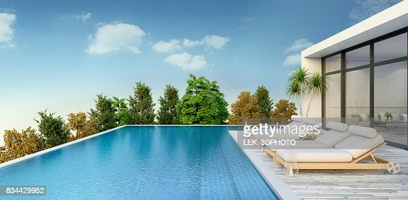 Summer ,beach lounge, sun loungers on Sunbathing deck and private swimming pooland  panoramic sea view at luxury villa/3d rendering : Stock Photo