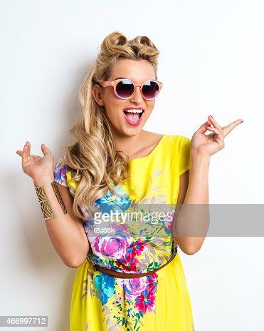 Summer Blonde Woman wearing sunglasses