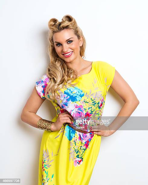 Summer Blonde Woman wearing yellow dress