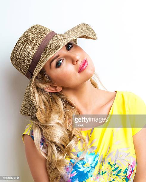 Summer Blonde Woman wearing yellow dress