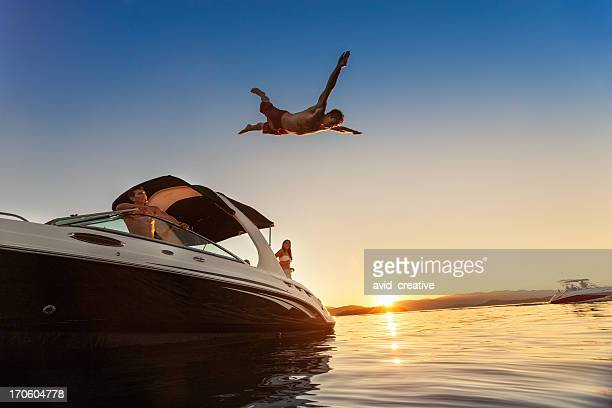 Summer Boating Sunset Jump