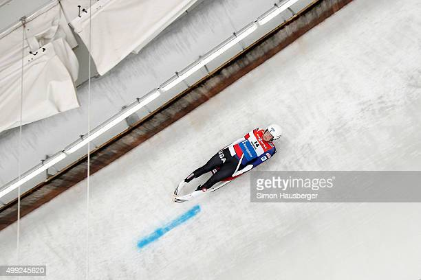 Summer Britcher of USA in action during the Viessmann Luge World Cup at Olympiabobbahn Igls on November 28 2015 in Innsbruck Austria
