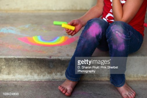 Summer Chalk Dust and Rainbows : Stock Photo