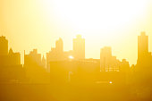 New York City skyline background image with lense flare
