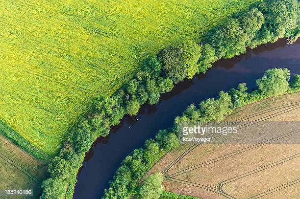 Summer crops harvest fields river aerial view