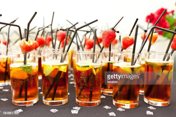 Summer Cup with fruit and straws at a party