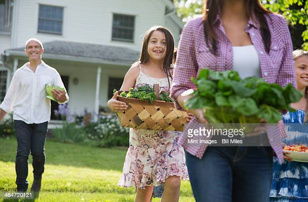 A summer family gathering at a farm. Parents and children walking across the lawn carrying flowers, fresh picked vegetables and fruits. Preparing for a party.