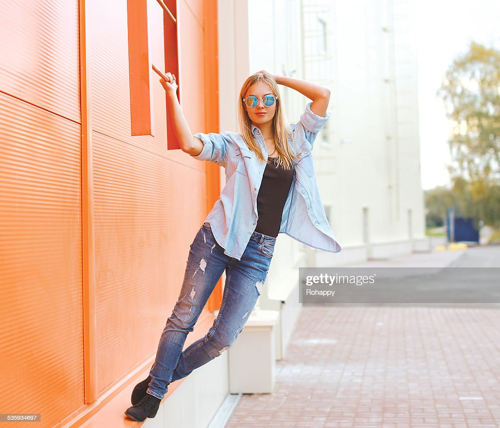 Summer, fashion and people concept - bright stylish pretty woman : Stock Photo