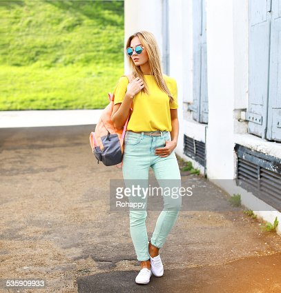 Summer, fashion and people concept - stylish pretty hipster woma : Stock Photo