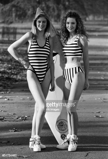Summer fashions model Katie wears a black and white striped suit with blue panels and black binding and Andrea wears a striped twopiece with yellow...