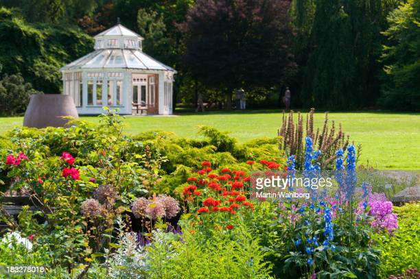 Summer Flowers, Lawn and white Pavilion