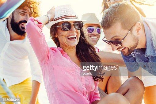 Summer friends on a sea trip