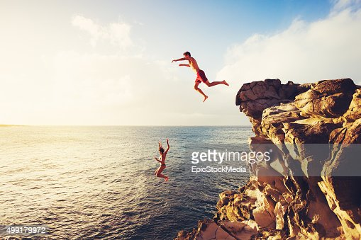 Summer Fun, Cliff Jumping : Stock Photo